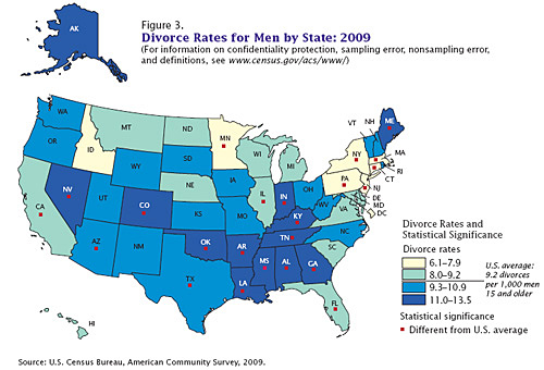 DIVORCE-RATES-2009-MAP-US-Census-Bureau-08-25-2011